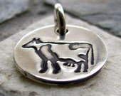 ON SALE Silver Cow Charm, PMC Fine Silver