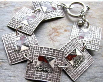 ON SALE Silver Handcrafted Photo Transfer Black and Red Abstract Bracelet, PMC Fine Silver, Mixed Media Artwork