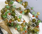 Beaded necklace, Wire wrapped necklace, Crystal necklace, Green necklace, Artisan necklace