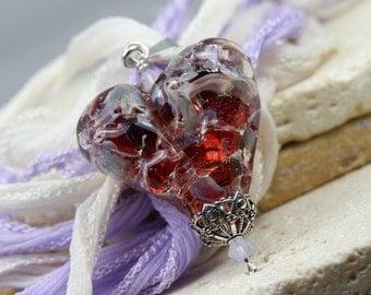 Lampwork Heart - Red Heart - Heart Necklace - Heart Pendant - Valentine Heart - Glass Heart - Heart Jewelry -