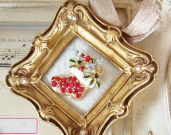 "Framed Christmas Holiday Pin / Santa Claus Boot / Miniature Vintage Gold Frame / 3 1/4"" x 3 1/4"""