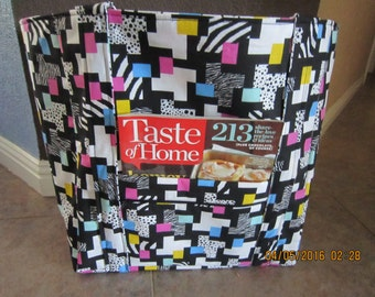 """Double Extra Large Durable 15.5"""" Grocery Shopper Reversible Market Tote Bag Geometric Animal Pink, Turquoise & Yellow with POCKET(S)*"""