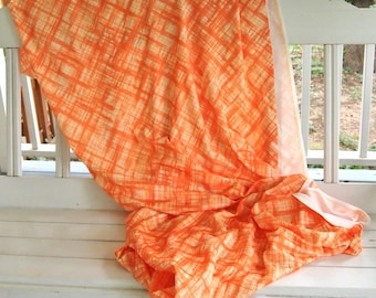 """Free Shipping Large piece of Beautiful Vintage Polyester Fabric Colorful 70's design Orange Crosshatch pattern 85"""" x 60"""""""