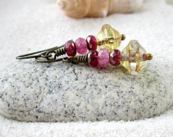 Pink Earrings - Beaded Dangle Earrings - Glass Bead Earrings - Bead Jewelry - Hypoallergenic Earrings - Pure Titanium Earrings - Pink Series