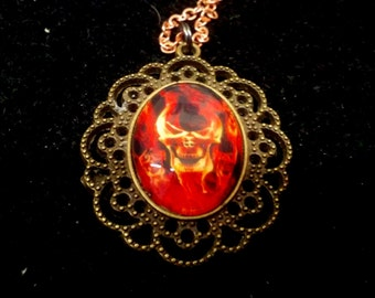 Fire Skull Cameo Necklace
