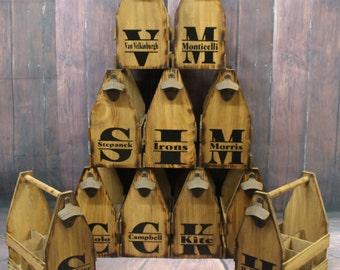 10 - MONOGRAM LETTER Rustic Wood Beer Caddies - Beer Carrier - Beer Caddy - Personalized beer tote - Bottle Opener - Repurposed Wood