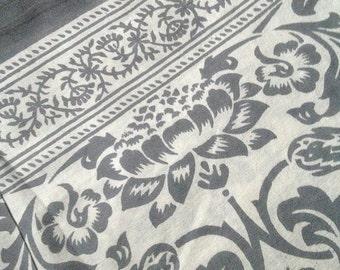 Bohemian Tapestry Fabric Lotus Pattern - Calm Gray