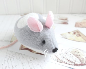 Gray and White Mouse Stuffed Animal Plush Mouse Fleece Mouse Toy