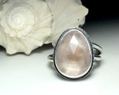 Statement Ring Rose Quartz Rose Cut in sterling silver wide band modern organic