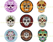 Sugar Skull Magnets, Day of the Dead, Sugar Skull Pins, Pop Sugar Skulls, Mexican Skull Magnets, Mexican Art Skulls, Sugar Pop Skulls