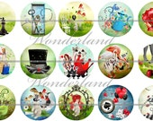 Wonderland Flatbacks, Wonderland Badges, Alice in Wonderland, Wonderland Party Favors, Wonderland Magnets, 12ct. Set