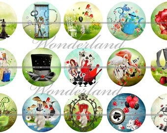 Wonderland Flatbacks, Wonderland Badges, Alice in Wonderland, Wonderland Party Favors, Wonderland Magnets, 12ct. Set