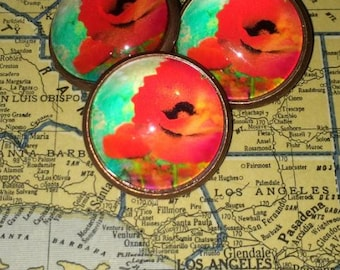 Gorgeous California Poppy Poppies Crystal Glass Dome Button One Inch