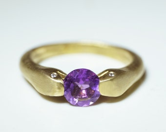 Double Headed Snake Ring in Brass with Amethyst and Diamonds