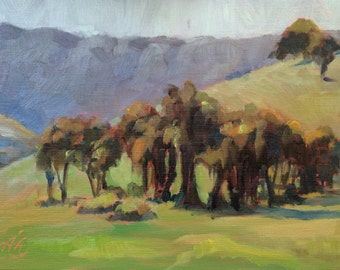 Plein air oil painting of California mountains and trees