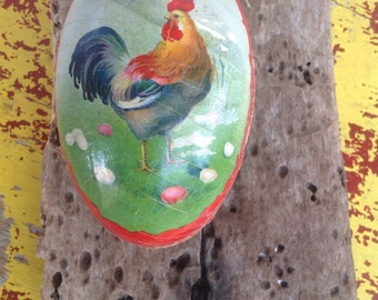 Vintage paper mache Easter egg candy container.