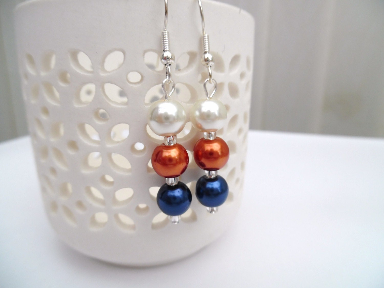 Navy Blue Burnt Orange and Ivory Pearl Beaded Bracelet, Wedding ...