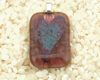 Fused Glass Pendant ..  Semi Transparent Dusky Rose Pink with Encased Heart Detail - Silver plated Fitting