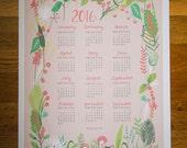 Garden Foliage in Pink 2016 Wall Calendar Poster