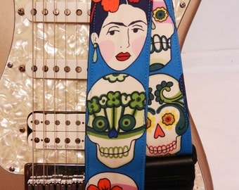 Frida Kahlo faces sugar skulls teal hipster guitar strap