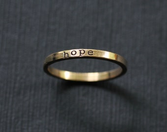 Tiny Hand Stamped Name Ring in Solid 14k Gold