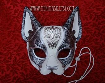 FREE SHIPPING USA Venetian Cat Mask...  leather cat mask kitty masquerade costume Halloween Mardi Gras Burning Man
