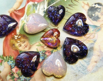 Vintage Cabochons Hearts Glass Heart Pointy Back