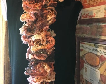 Handknitted browns ruffle scarf
