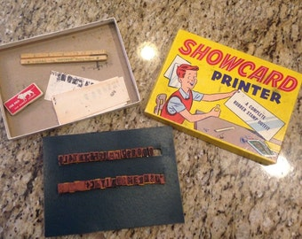 Vintage Showcard printer show card stamps with box stamps ink
