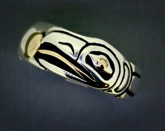 Raven Steals the Sun Ring, Recycled Sterling and 14 Karat gold, Raven Wedding Band