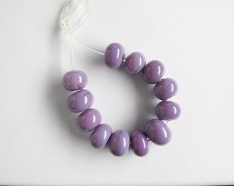 12 x purple mini lampwork glass spacer beads, SRA