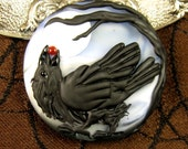 NEW Lampwork Raven Focal Bead by Kerribeads