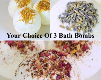 Bath Bomb Gift Set - Your choice of 3 Bath Bombs - Valentine's Day Gift - Mothers Day Gift