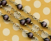Christmas in July Sale - Vintage Chain - 3ft Vintage Purple Luster 6mm Glass Bead Chain
