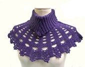 Handmade Crocheted and Knitted Neckwarmer - Purple, Plum Violet little Capelet with Turtle Neck - Crochet Lace Shrug - RIBS N' LACE