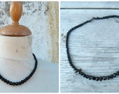 Vintage Antique Victorian faceted graduated whitby mourning  jet necklace