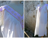Vintage Antique French 1900  /1920  cream + lillac cotton embroidered dress /underdress /nightgown size M