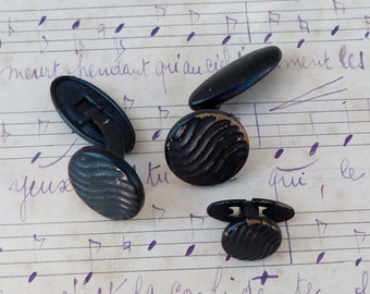 Vintage Antique 1900/1920 old French black metal round  cuff links / set of 3 ( 1 smaller for collar)