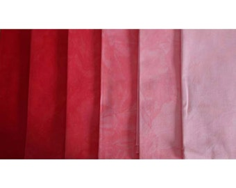 Clear ORANGE RED to PINK Shades - hand dyed Fabric - 6 pc Fat Quarter Gradation Bundle - Tuscan Rose COR431
