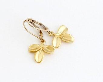 Gold Leaf Earrings - Small Gold Earrings - Nature Drop Earrings - Simple Earrings - Trio of Leaves - Gift For Women - Delicate Earrings