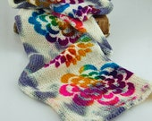 "Double Knit Sock Blanks-""Psychedelic Flower""-Random grey& white pattern with multicolored flowers stenciled all down length"