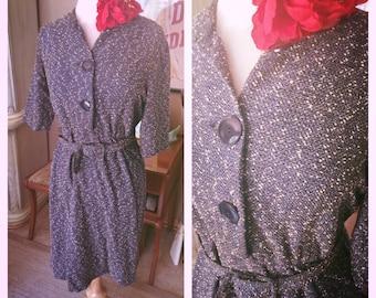 Vintage 1950s Dress black blue tweed 50s M L secretary rockabilly pinup