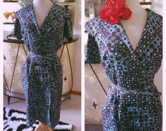 SALE Vintage 1950s Dress black blue atomic day pinup 1960s M L