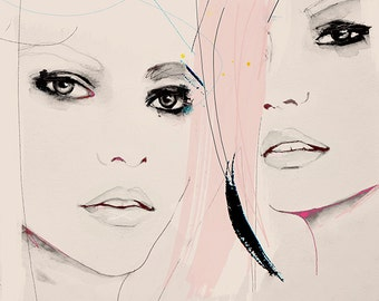 Proneness  Version 1 - Fashion Illustration Art Print, Portrait, Mixed Media Painting by Leigh Viner