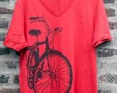 Bike Art T Shirt - Huffy Town Bicycle V Neck Tee Shirt on Red - Bicycle Bike T shirt Tshirt cycling bike art T shirt bicycle print T shirt
