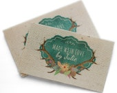 30mm Personalized sew in cotton labels vintage look clothing labels PRE-CUT 100 pcs