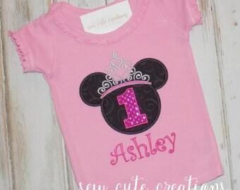 Girl Mouse Birthday shirt, Princess Mouse Birthday shirt, Mouse Girl Birthday shirt, Ruffle shirt, Mouse ears shirt, sew cute creations