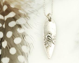 Cardinal Pendant - Sterling Silver Bird Necklace, Cardinal Jewelry