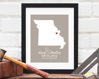 Missouri State Map, State Map Art Print, Personalized New Family Gift, Wedding Gift, US State Anniversary Gift, Relocation - 8x10 Art Print