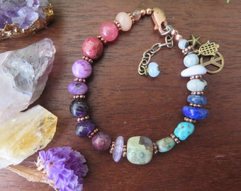 Colorful Boho Stone Beaded Bracelet - Peace Hamas Star Charms - Adjustable Size - Mystical Crystal Bohemian Jewelry - Gemstone Copper Brass